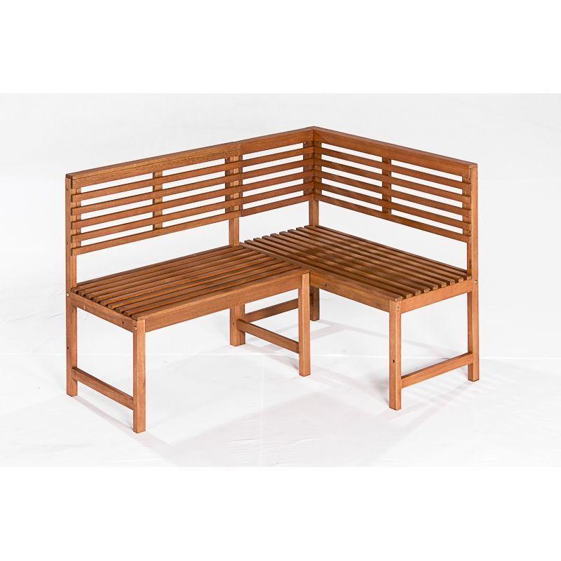 CASAYA Gartenbank Paolo 3-Sitzer Teakoptik, Eukalyptus