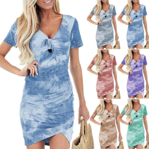 Womens Short Sleeve T Shirt Dress Casual Bodycon Cocktail Party Boho Mini Dress Clothing, Shoes & Accessories