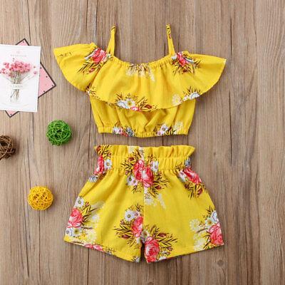 Mädchen Kinder Kostüm Outfits Set Weste+Hose Blumen printed Kleidung set mode