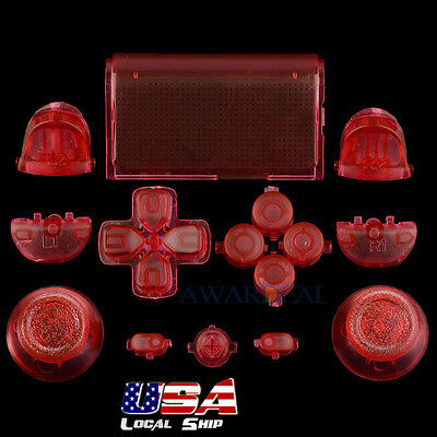 Customized Full Buttons Mod Kits R1L1R2L2 Triggers for PS4 Controller Clear Red