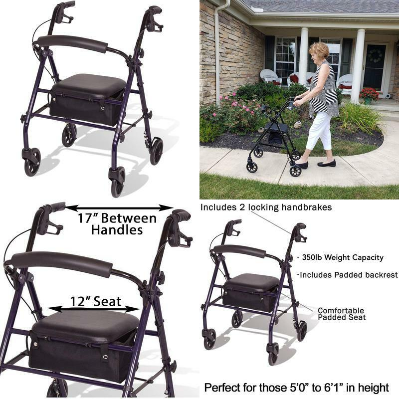Carex Steel Rollator Walker With Seat And Wheels - Rolling W