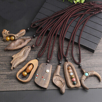 Adjustable Long Sweater Chain Handmade Sandalwood Natural Stone Pendant Necklace