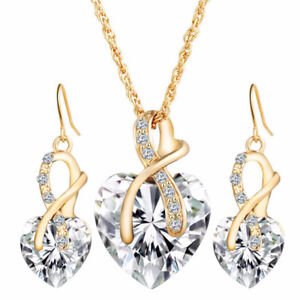 Women Gold Plated Crystal Heart Jewellery Set New With Box