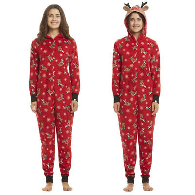 Family Matching XMAS Christmas Adult Reindeer Hooded Nightwear Sleepwear PJs NWT
