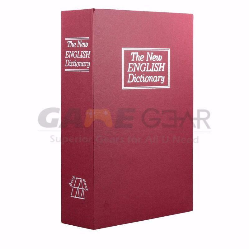 Red Small Home Security Dictionary Book Safe Storage Key Lock Box