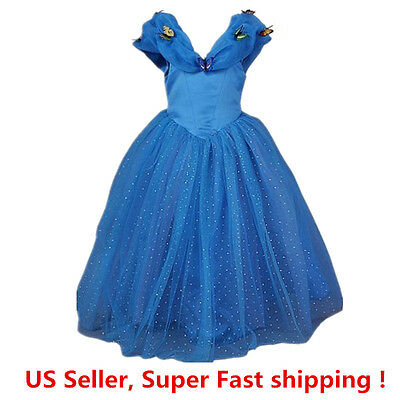 Cinderella Princess Butterfly Party Dress kids Costume Dress for girls 2-10 Y - Girls Blue Butterfly Costume