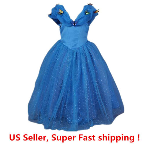 Cinderella Princess Butterfly Party Dress kids Costume Dress for girls 2-12 Y