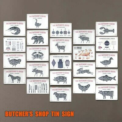 BUTCHER'S GUIDE Vintage Tin Sign Bar Pub Cafe Shop Home Wall Decor Metal Poster - Shop Home Decor