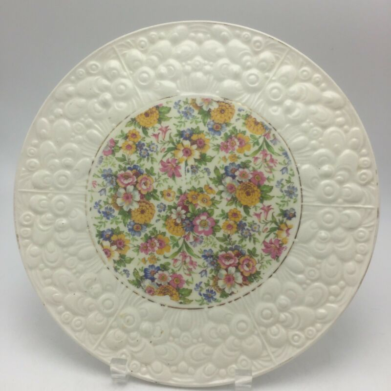 "CHINTZ PLATTER / cake plate - 11"" - floral - Czechoslovakia Textured Edg"
