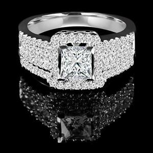 Set d'alliances (bague et jonc) en or blanc 14K 1.60CTW White Gold Diamond Ring Set