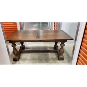 RESTORATION HARDWARE DINING TABLE - BROWN ACACIA - 76 inch