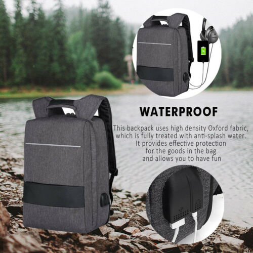 "Rucksack 17,3"" Notebooktasche Notebook Laptop Tasche USB Port Schule Backpack"