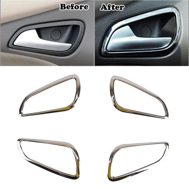 Fit For 12-14 Ford Focus Mk3 Chrome Interior Inner Door Handle Bowl Cover Trim