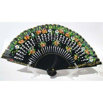 Abanico Elegante de Madera Negro Y Algodón Con Diseños Fiorati. Adecuado Para