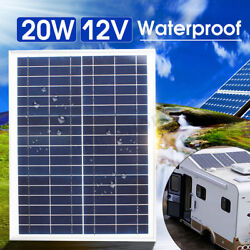 20W 12V Poly Solar Panel Module Off Grid Battery Charger+Cable Set For Car Boat