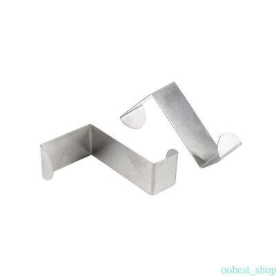 2x Stainless Steel Metal Over The Door Hook Hanger Rack Space Saver Clothes