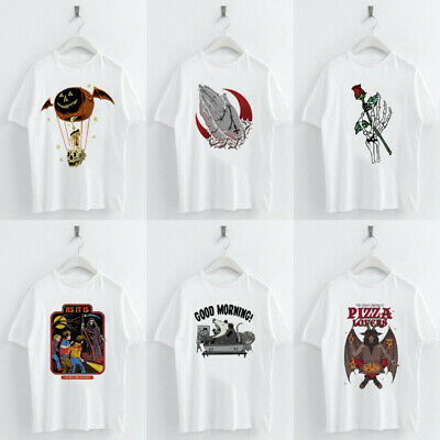 Harajuku Dark Devil Pattern T shirt Summer Women Short Sleeve O-neck Tee Tops Devil Womens Fit T-shirt