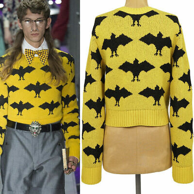 sz S NEW $1,100 GUCCI Mens RUNWAY Yellow BAT Wool Blend CROPPED SWEATER TOP