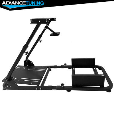 COCKPIT DRIVING SIMULATOR Driving Racing Seat Wheel Stand Black Steel, used for sale  Shipping to Canada