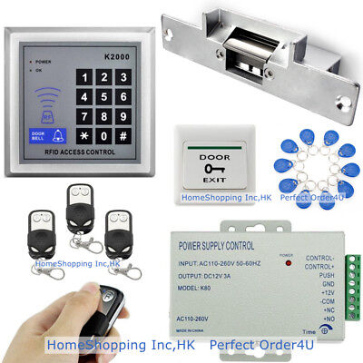 New 125KHZ RFID Card+Password Door Access Control+Electric Strike Lock+3 Remotes