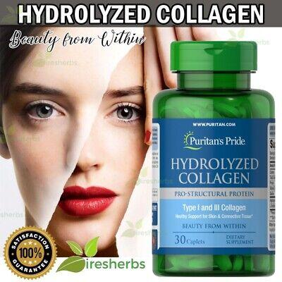 HYDROLYZED COLLAGEN 1000mg BEST Skin Bones Joints Detox Supplement 30