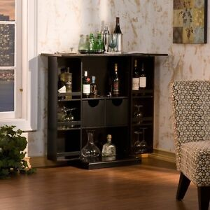 Black Folding Fold Away Bar Liquor Cabinet Expandable Loft Furniture SEI HZ1021R