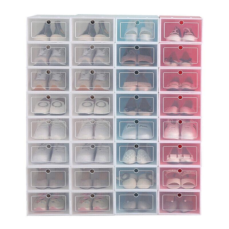 12-36pack Foldable Shoe Box Storage Clear Plastic Case Stackable Organize wholes