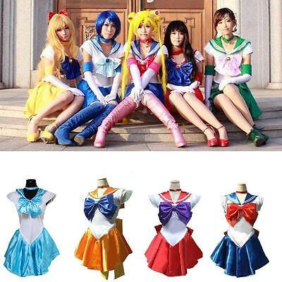 Sailor Moon Costume Cosplay Uniform Fancy Party Dress & Gloves Halloween Costume