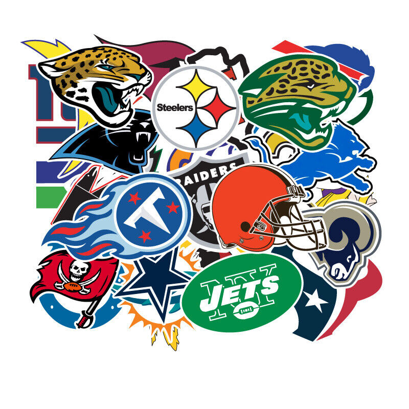 32 NFL Teams Logo Decal Vinyl Stickers for Truck/Skateboard/Luggage/Laptop/Party Fan Apparel & Souvenirs