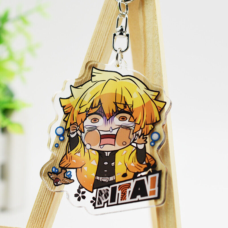 Kimetsu no Yaiba Agatsuma Zenitsu Plush Doll Key Chain Toy 12cm Demon Slayer