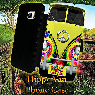 Hippy Van Peace  Leather Wallet Galaxy S7 S6 S5 S4 S3 Note 5 4 3 Phone (Peace Note)
