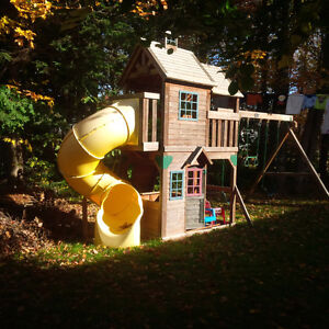 Swing set with playhouse and slide - Costco