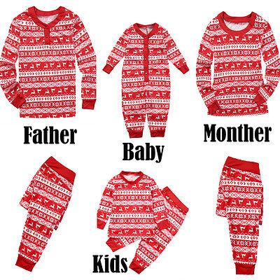 Family Matching Christmas Pajamas Adult Kids Xmas Reindeer Sleepwear Nightwear