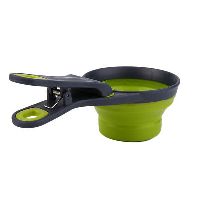 Foldable Silicone Pet Dog Sealing Clip Collapsible Measuring Cup Food Scoop EI