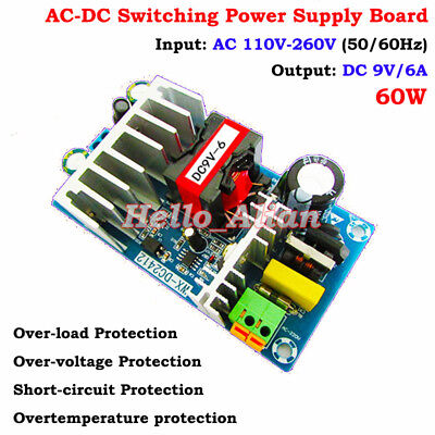 60w Ac-dc Isolated Converter 110v 220v To 9v 6a Volt Power Switching Transformer