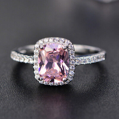 (Exquisite Pink Sapphire Zircon Princess Wedding Ring White Gold Jewelry Size5-11)