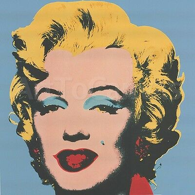 """39""""x39"""" MARILYN 1967 (ON BLUE GROUND) by ANDY WARHOL Repro CANVAS"""