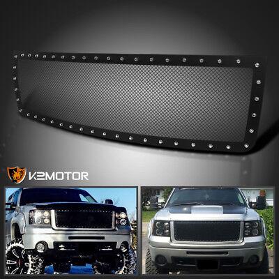 2007-2013 GMC Sierra 1500 Black Textured Rivet Style Upper Mesh Grille -