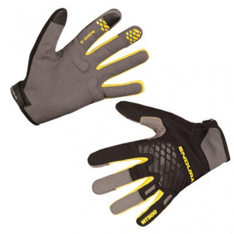 Endura MT500 Long Finger II Gloves, Size XS, Black/Yellow