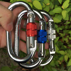 25KN Steel Screw Lock Carabiners Rock Mountaineering Climbing Rappelling 1pc