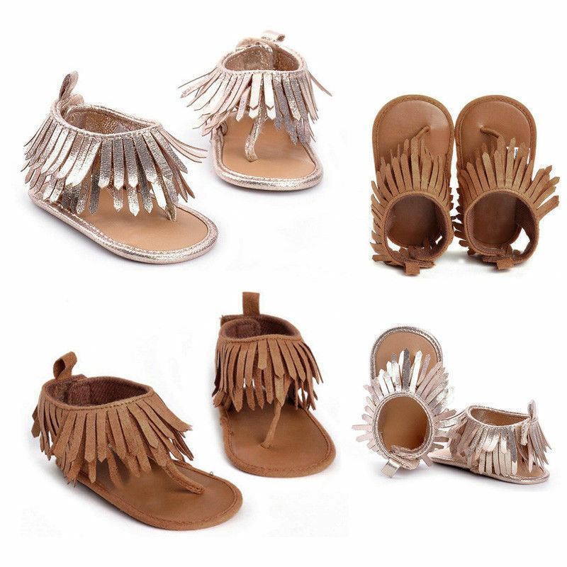 Baby Infant Kid Girl Flat Shoes Soft Sole Crib Tassels Sandals Shoes For Newborn