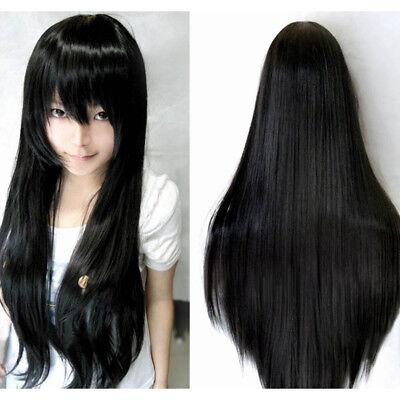 Black 80cm Women Long Straight Hair Full Wig Fashion Costume Party Anime - Black Wig Costumes