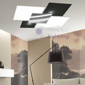 Maxi plafoniera soffitto lampadario design moderno acciaio cromato bianco nero  eBay