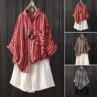 ZANZEA Womens Summer Striped Buttons Casual Loose Tops Shirt Blouse Plus Size ()