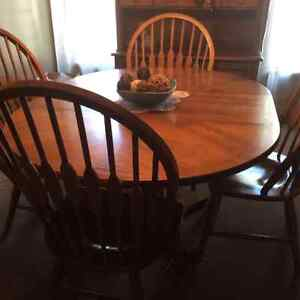 Dining room table and chairs , hutch