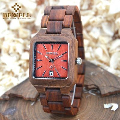 - Bewell Mens Wood Watch Square Face Male Quartz  Casual Wristwatch  Date Display