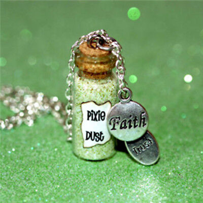Pixie Dust Magical Necklace with a faith and trust charm glass bottle necklace - Pixie Dust Necklace