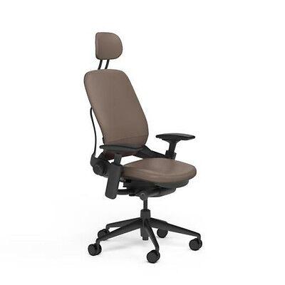New Steelcase Adjustable Leap Desk Chair Headrest - Rocky Leather Black Frame