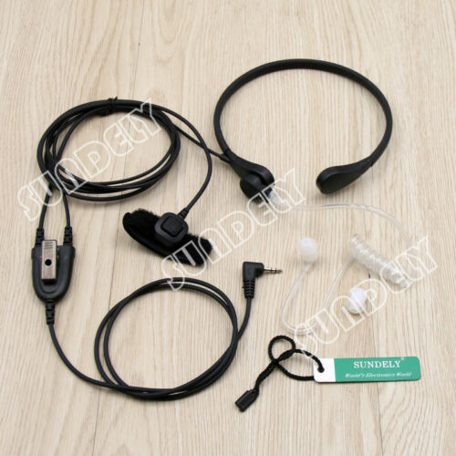 Throat Mic Headset//Earpiece Cobra Radio Walkie Talkie Finger PTT CXT175 CXT225