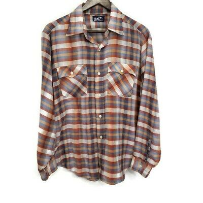 1970s Mens Shirt Styles – Vintage 70s Shirts for Guys Levis Mens Vintage 1970s Plaid Button Up Shirt Size L Western Thin Rockabilly $29.91 AT vintagedancer.com